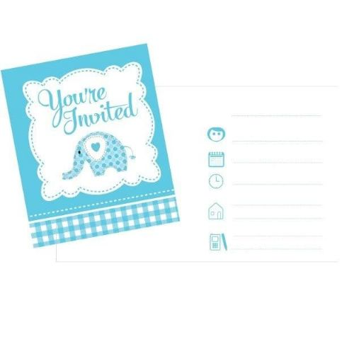 SWEET ELEPHANT BLUE INVITES